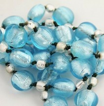 """ESTATE Jewelry BEAUTIFUL TURQUOISE AND SILVER MICA ART GLASS NECKLACE - 26"""" - $35.00"""