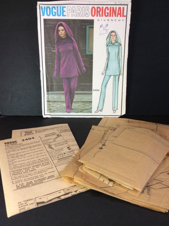 Vtg Vogue Paris Sewing Pattern 2484 Givenchy Size 10 Misses Tunic Pants Hood