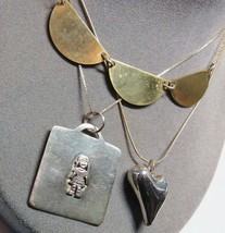 Vintage 3 PC Lot Sterling Silver Pendant Necklaces Heart Girl Child Mixe... - $55.16