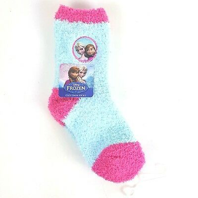 Disney Frozen Elsa Anna Little Girls Cozy Fuzzy Socks Size 7-9 Pink Blue NWT