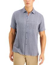 Tasso Elba Island Silk Blend Men's Leaf Tile Print Shirt Navy Combo-Size... - $21.99