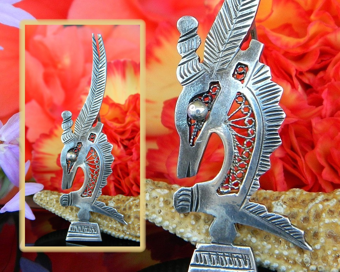 Primary image for Vintage Antelope Gazelle Chi Wara Chiwara Headdress Silver Brooch Pin
