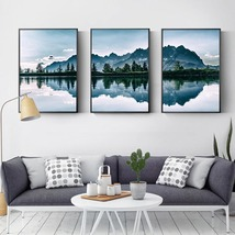 Natural Reflective Lake Landscape Wall Art Posters Home Decor Canvas Prints - $9.85+