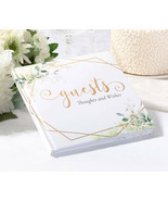 Botanical and Gold Geometric Guest Book Wedding Anniversary or any event - $17.00