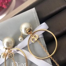 Authentic Christian Dior 2019 Tribales Double Pearl Dangle Drop Long EARRINGS image 7