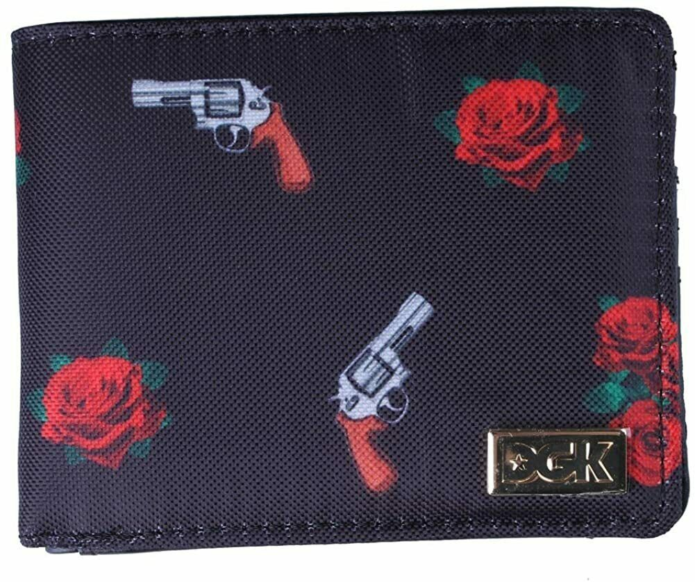 Dirty Ghetto Kids DGK Black Roses and Guns Yin and Yang Bi-Fold Wallet NEW
