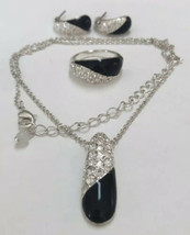 Avon NRT Black Enamel Rhinestone Silver Tone Necklace Earring & Ring Set - $19.79