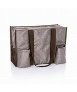 Thirty One Zip Top Organizing Tote (new) MOCHA CROSSHATCH - $40.69