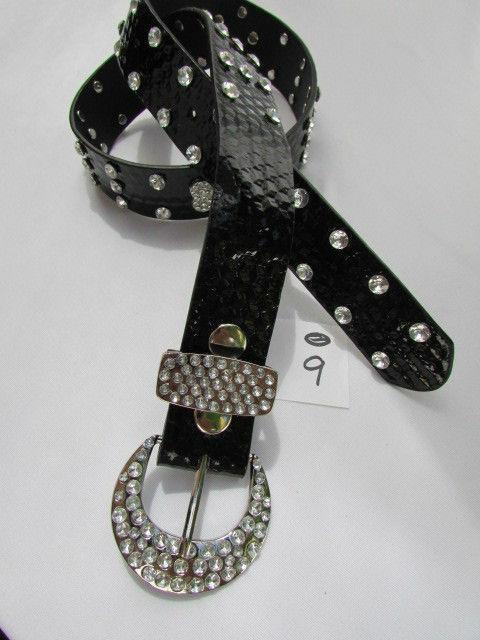 Damen Kunstleder Western Schwarz Gürtel Große Schleife Silber Perlen Schnalle image 5