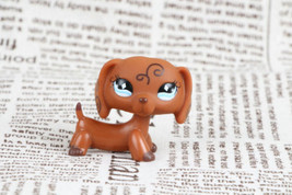 LPS #640 Dog Dachshund Brown With Diamond Blue Eyes Puppy figure toys - $4.94