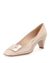 $720 Prada Patent Leather Low-Heel Buckle Ornament Pumps Nude Beige Shoe... - $358.00