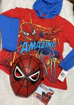 Spiderman Shirt Hoodie Size 8 Medium With Mask Red Blue Birthday Party - $14.82
