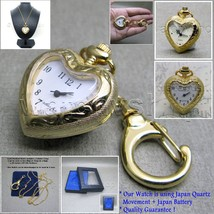 Silver Classic Ladies HEART style Pendant Watch Key Chain Necklace Gift ... - $11.39