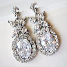 Statement Diamond Bridal Earrings - Vintage Inspired Cubic Zirconia - $81.00