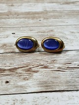 Vintage Clip On Earrings Gold Tone Blue Center Oval - $12.99
