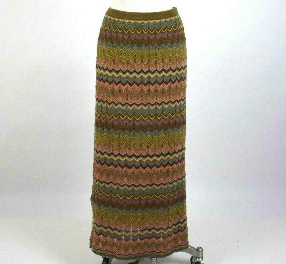 Primary image for Double D Ranch Maxi Skirt Chevron Stripe Multi Color Long Pencil Size M elastic