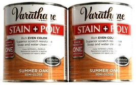 2 Varathane Stain Poly Rich Even Color Summer Oak Semi Gloss Soap Cleanu... - $29.99