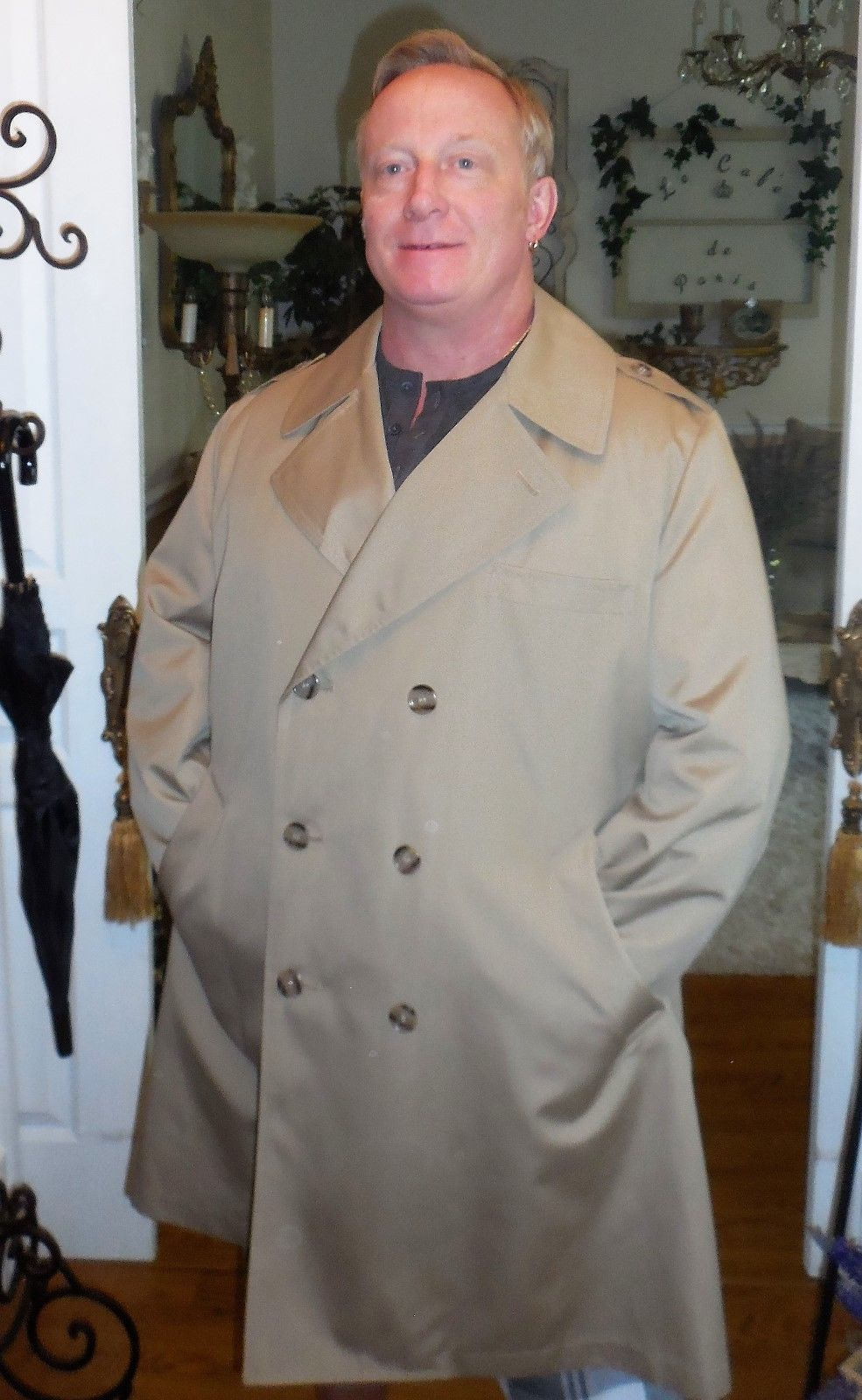 Primary image for Misty Harbor Double Breasted Trench/Rain Coat 44 SHORT Executive Khaki Overcoat