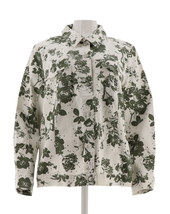 Denim & Co Floral Printed Twill Jean Jacket Olive M NEW A274027 - $29.68