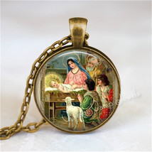 Nativity Pendant Necklace, Christmas Vintage Nativity, Christian Jewelry, Jesus  - $12.95