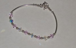 Silver Tone Bracelet Pink Clear Faceted Crystals 7 Inch - $4.71