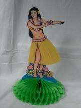 1978 Beistle Hula Island Wahine Girl Honeycomb Tissue Standing Table Cen... - $7.97