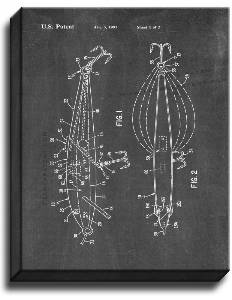Primary image for Electromagnetic Field Generating Fishing Lure Patent Print Chalkboard on Canvas