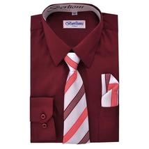 Berlioni Italy Toddlers Kids Boys Long Sleeve Dress Shirt Set With Tie & Hanky image 3