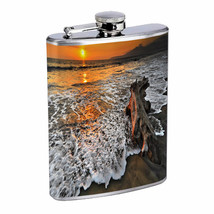Sunset Beach Driftwood Em1 Flask 8oz Stainless Steel Hip Drinking Whiskey - $279,96 MXN