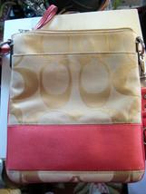 AUTH COACH Signature C Swing Pack Handbag - Tan w/ Hot Pink Trim NICE EUC - $45.53
