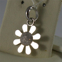 SOLID 18K WHITE GOLD PENDANT, 0,71 In, FLOWER SHAPE, DIAMOND-WORKED, CHARM. image 3