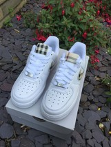 Customized Leather Nike Air Force Ones LV Beige Burberry Plaid Monogram ... - $275.00+