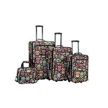 Expandable Rolling Luggage 4 Piece Set Wheeled Suitcase CarryOn Owl Mult... - $116.78