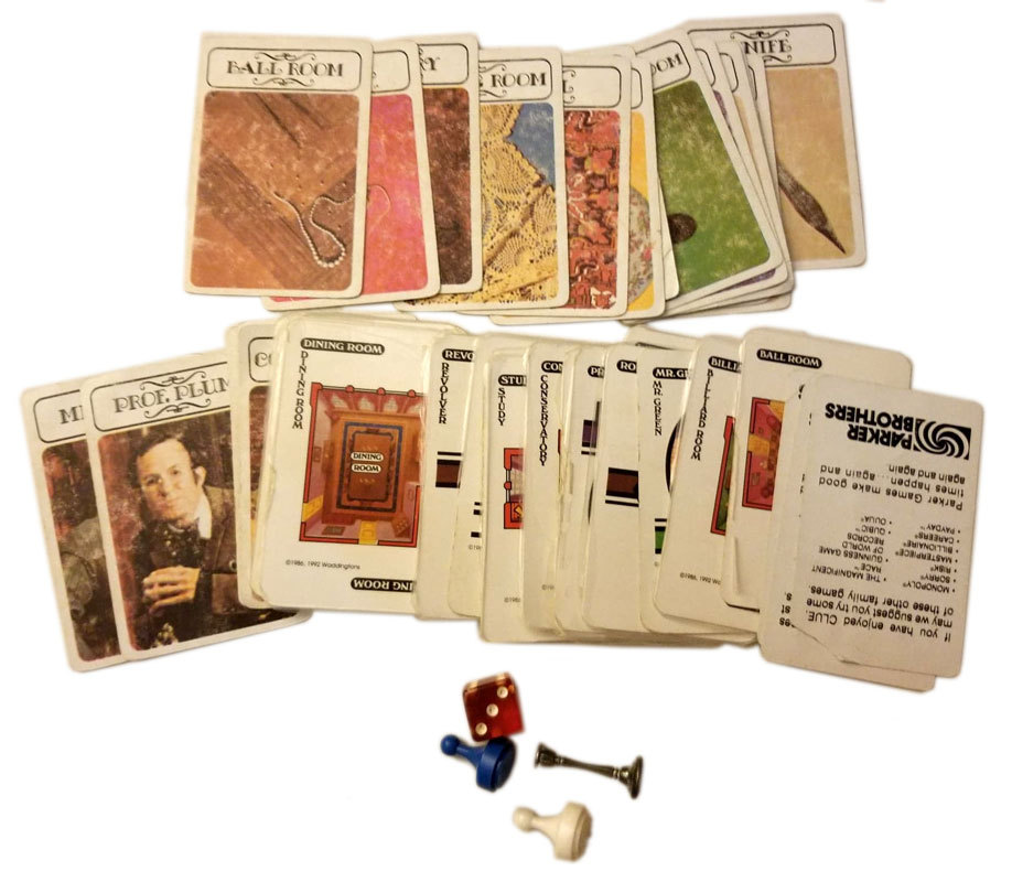 Clue Board Game Replacement Pieces - (45) Cards & Misc. Pieces