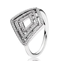 925 Sterling Silver Geometric Lines Clear CZ Ring For Women QJCB1304 - $23.66
