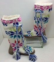 Original Muk-Luks Colorful Tall Sweater Sock Slipper Boots Size M (6.5 to 7.5) - $13.83