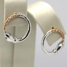 DROP EARRINGS WHITE GOLD PINK 18K, CIRCLE, SNAKE, ZIRCON image 1