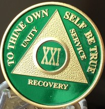 21 Year AA Medallion Green Gold Plated Alcoholics Anonymous Sobriety Chi... - $20.39