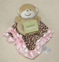 Carters Leopard Pink Brown Satin Ruffle Security Blanket Monkey Rattle B... - $34.64