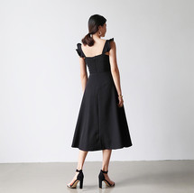 Black Sleeveless Square Neck Cocktail Dress Women Chiffon Midi Cocktail Dresses image 2