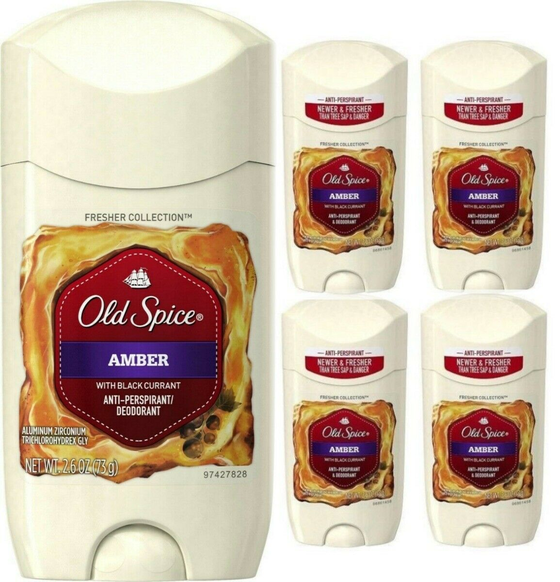 Primary image for 4 Old Spice Amber Black Currant Deodorant/Anti Perspirant Mens 2.6 oz Fresh Lot