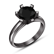 14k Black Gold Finish 925 Sterling Silver Black Round Diamond cut Solita... - $77.99