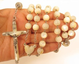 Old Vintage Large Mother of Pearl Bead Sterling Silver Rosary Bead Neckl... - $345.51