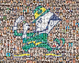 Notre Dame Photo Mosaic Print Art Created Using Past and Present Players... - $42.00+