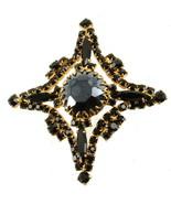"""Vintage Schreiner Jet Black Rhinestones Maltese Cross Pin 2.5"""" - $87.74"""