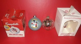 Lot of 2 Campbell's Soup Kids Glass Christmas Ornaments 1991 & 1998 - £4.20 GBP