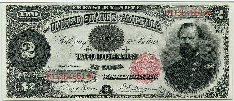 FR. 357 1891 $2 Treasury Note PMG Choice Unc 64 EPQ - Treasury Notes