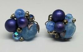 Vintage Blue Plastic Bead Cluster Leaf Clip On Earrings 50s - $10.00