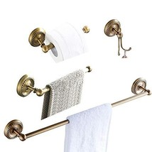 BATHSIR Antique Brass Series 4 Piece Bathroom Hardware Set Includes Towe... - $76.80