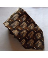 Barrington Men's 100% Silk Abstract Neck Tie Brown Black Tan White Gray... - $17.99